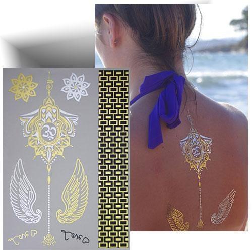 Tatouage métallisé ailes dorés
