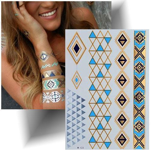 Tatouage métallisé bleu bracelets