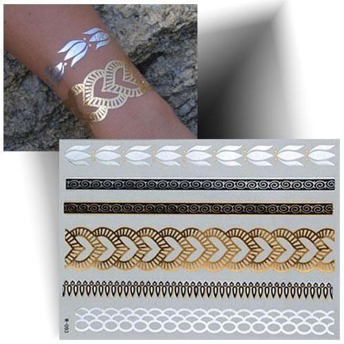 Tatouage métallisé bracelet cœur