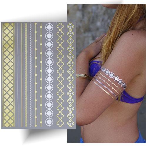Tatouage métallique doré bracelets