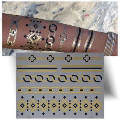 Tatouage métallisé doré bracelets