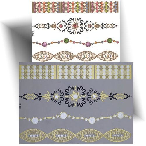 Tatouage métallisé bracelets strass