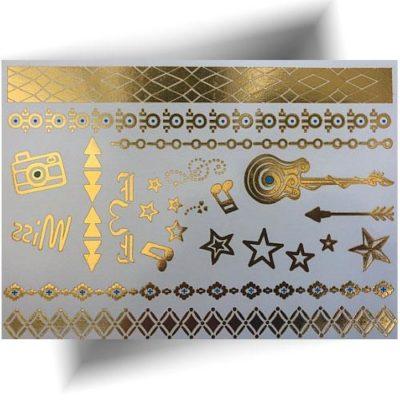 Tatouage métallisé doré musique