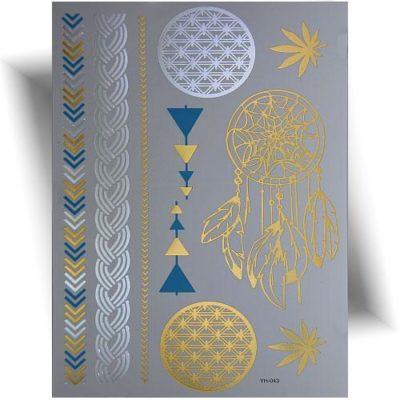 Tatouage métallisé dreamcatcher doré