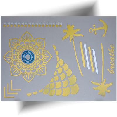 Tatouage métallisé motifs dorés
