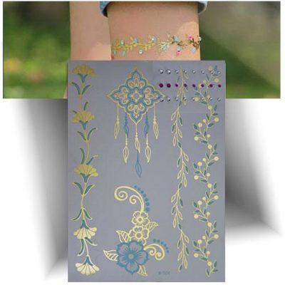 Tatouage métallisé motifs floraux