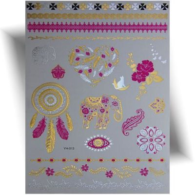 Tatouage métallisé motifs rose