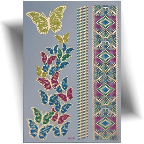 Tatouage métallique papillons