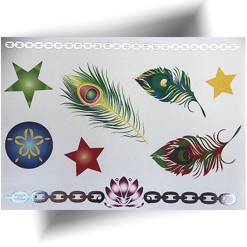 Tatouage métallisé plumes