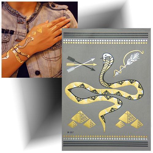 Tatouage métallisé serpent doré