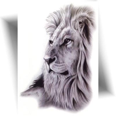 Tatouage temporaire lion réaliste