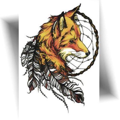 Tatouage temporaire renard indien