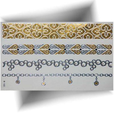 Tatouage métallisé bracelet argenté