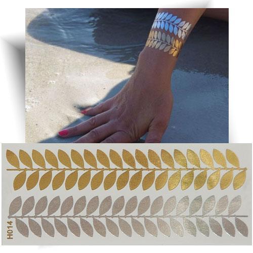 Tatouage métallisé bracelet feuille
