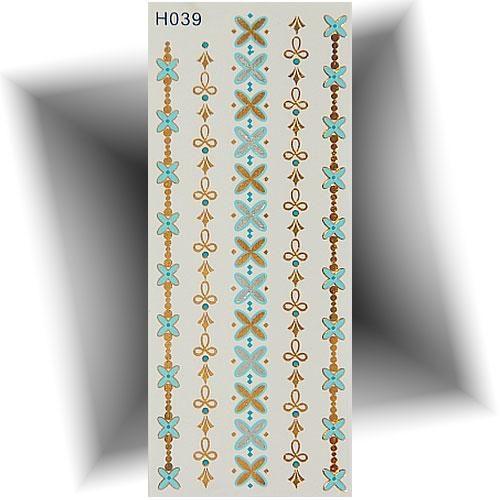 Tatouage métallique bracelet turquoise