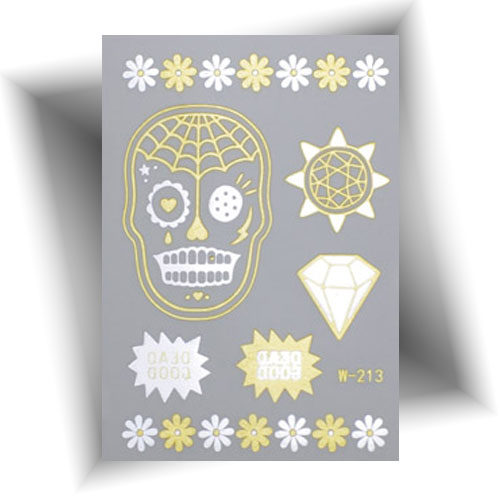 Tatouage métallisé skull doré
