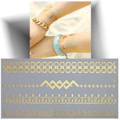Tatouage métallisé bracelet 3D