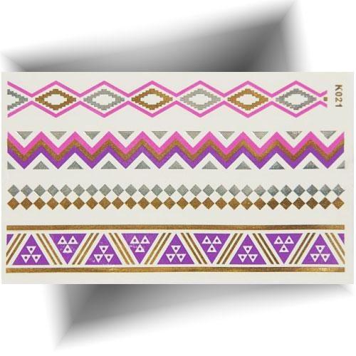 Tatouage métallisé bracelets violets