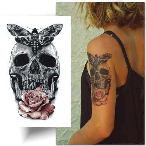 Tatouage-décalcomanie-crâne-sphinx