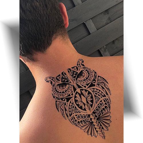 Tatouage-décalcomanie-hibou-Maori