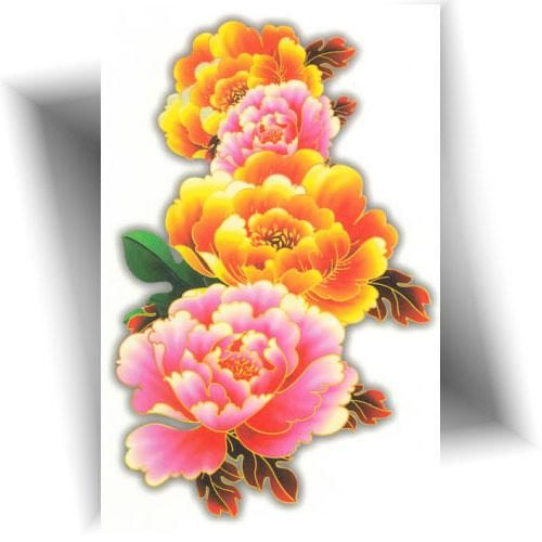 Tatouage-décalcomanie-pivoines-colorées