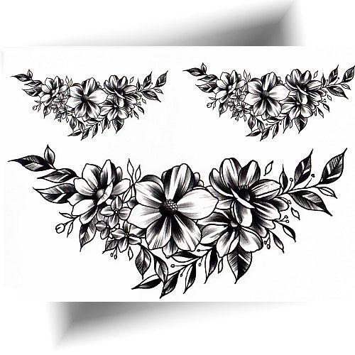 Tatouage-éphémère-fleurs-noires
