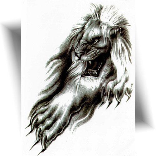 Tatouage-éphémère-lion-féroce