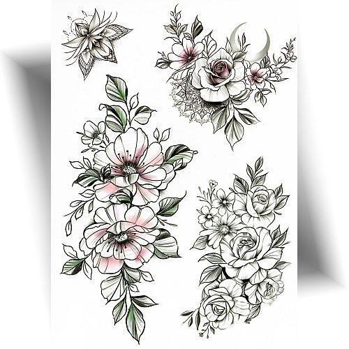 Tatouage-provisoire-floral