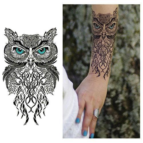 tatouage temporaire hibou tribal