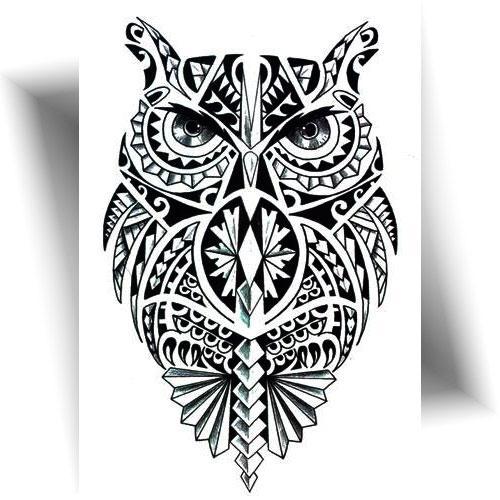 Tatouage-provisoire-hibou-Polynésien