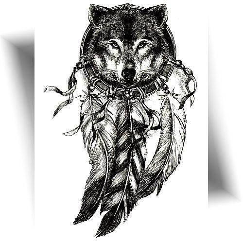 Tatouage-provisoire-loup esprit