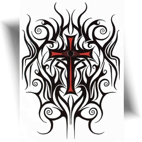 Tatouage-temporaire-croix-tribal