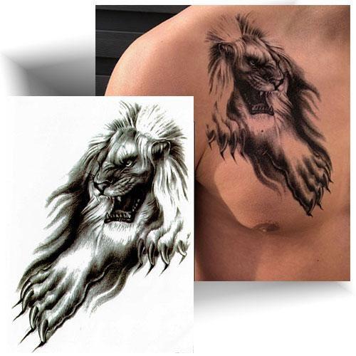 Tatouage-temporaire-lion-féroce