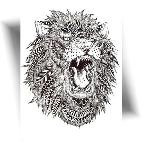 Tatouage-temporaire-lion-plumes