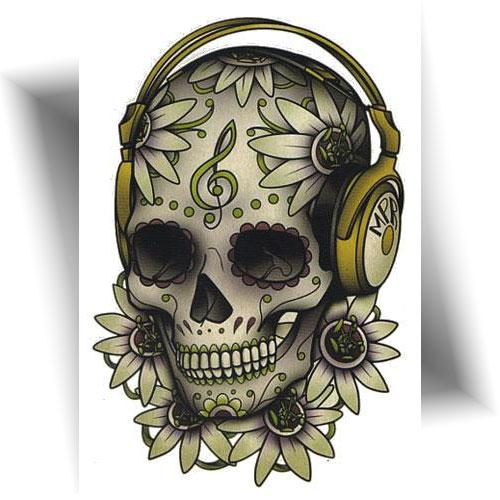 Tatouage temporaire skull music