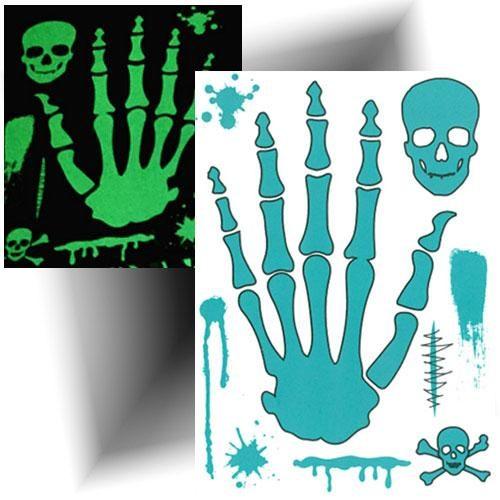 Tatouage-temporaire-squelette-phosphorescent