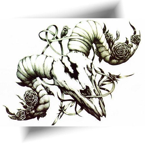 tatouage-temporaire-crâne-de-buffle