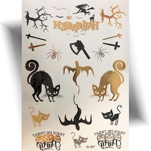 Tatouage-métallisé-chat-Halloween