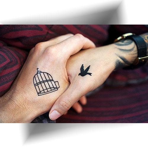 Tatouage-éphémère-oiseau-cage