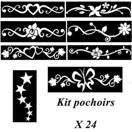 Kit pochoirs tatouages - arabesque